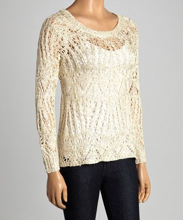 Love this Beige Sparkle Loose-Knit Keyhole Sweater by Design 26 on #zulily! #zulilyfinds