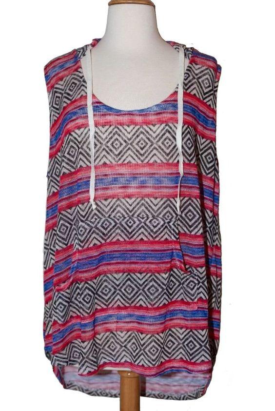 Belle Du Jour 2X Plus Sz Tribal Boho Patterned Sleeveless Hooded Top Shirt B   eBay