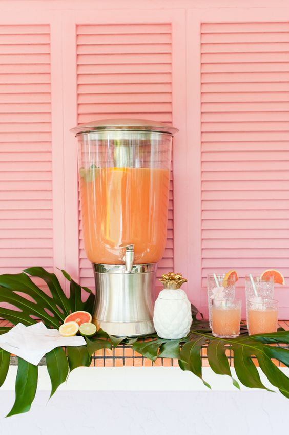 Pink grapefruit cocktail or mocktail