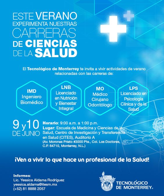 Verano de ciencias de la salud  Dirigido a alumnos a ingresas a su carrera profesional y con interés en una carrera de Ciencias de la Salud