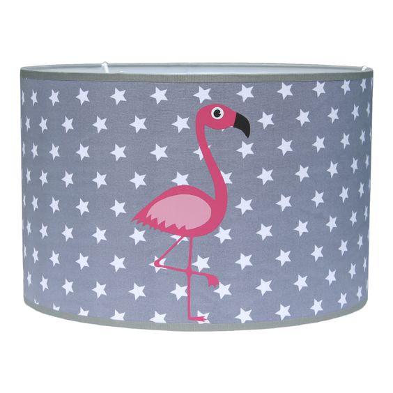 Lamp meisje in grijs met roze famingo