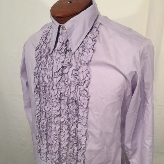 Vintage Purple Lavender with Black Trim Ruffled Delton Tux Shirt 15-1/2 16 70s Seventies French Cuffs Get Your Motown On Prince by CarolinaThriftChick on Etsy