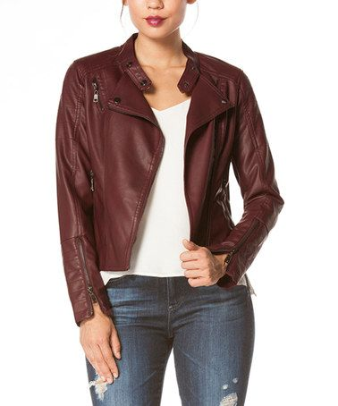 Love this Oxblood Faux Leather Moto Jacket on #zulily! #zulilyfinds