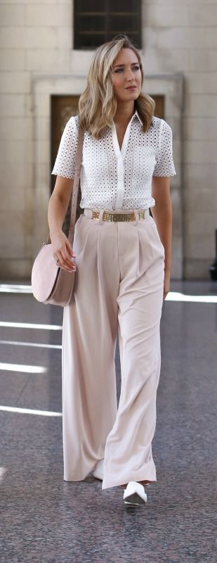 blush pleated wide leg pants, white eyelet button down shirt, gold hammered belt, white leather loafers, blush saddle bag {alice + olivia, reiss, nicholas kirkwood, cuyana}