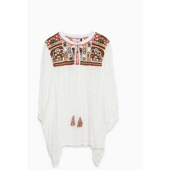 Zara Embroidered Tunic Blouse (1,305 MXN) ❤ liked on Polyvore featuring tops, blouses, zara, white blouse, embroidered top, embroidery blouse, embroidered blouse and embroidery top