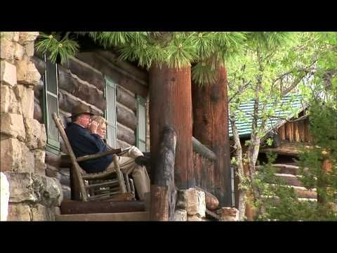 A rocking chair on the patio of Grand Canyon Lodge at the North Rim