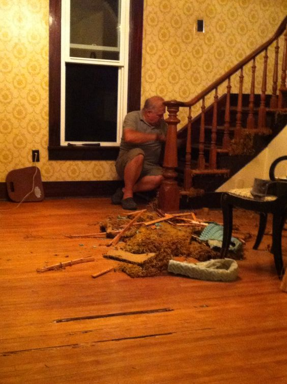 Under the carpet floor woes. Termites had eaten on the wood floors. Thank goodness they are GONE!