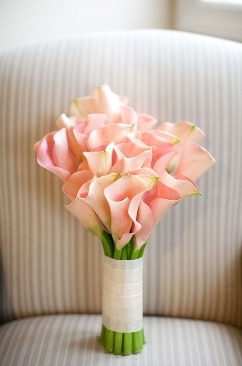 Light pink calla lilies create a fresh bouquet for a spring or summer wedding. Bridal bouquets: