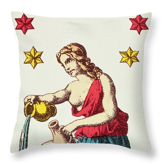 The Star  Tarot Card Throw Pillow by French School