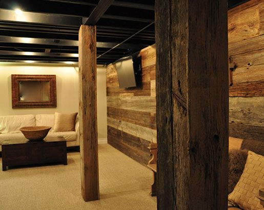 How To Hide Or Remove A Basement Support Post With Ideas Rustic Basement Diy Basement Basement Remodeling Rustic basement bedroom ideas