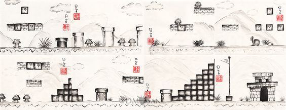 """Instantly recognizable to any true gamer, the classic first level of Super Mario Bros. brought to you in eight panels painted in sumi-e fashion! The artwork is styled in a mix of original old school 8-bit and Super Mario All-Stars.   Each of the 8 panels is a 8"""" x 6"""" print on Epson Pr..."""