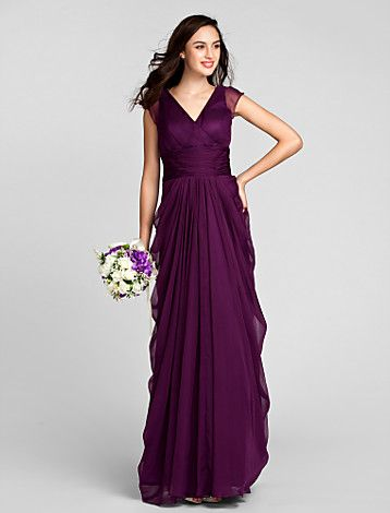 Bridesmaid Dress Floor Length Chiffon Sheath Column V Neck Dress (1036332) - USD $ 129.99