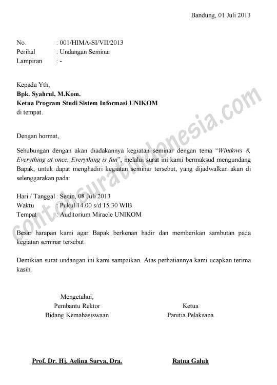 Surat Undangan Seminar : surat, undangan, seminar
