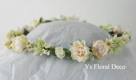 hk00263 白いこぶりなお花の花冠 ys floral deco @スペイン