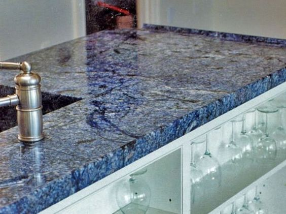 Blue quartz countertops granite hanstone beach kitchen for Navy blue granite countertops
