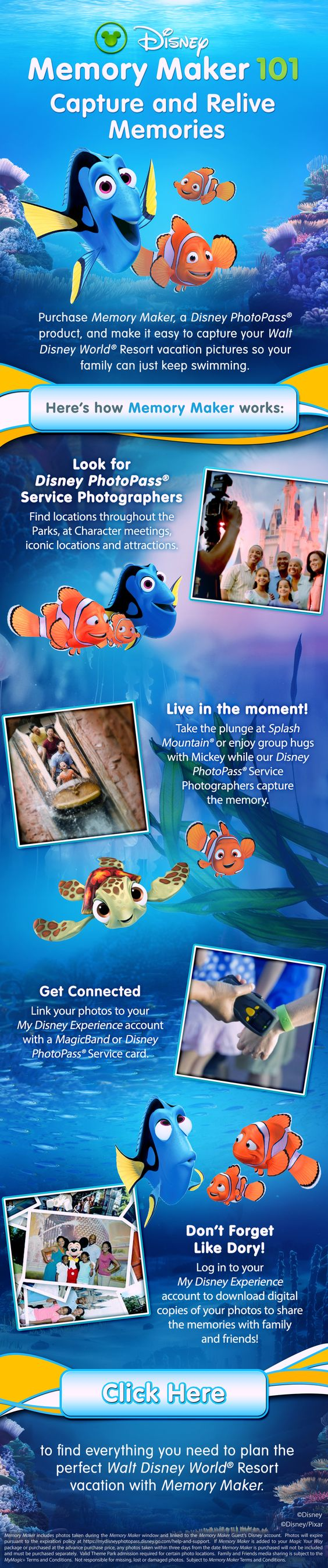 Get all the photos of everyone in your travel party taken by our Disney PhotoPass photographers at hundreds of locations throughout Walt Disney World Resort with Memory Maker! - - Contact me for a free quote on your Disney travel package - charla@madhatteradv.com