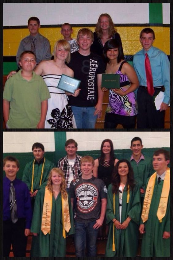 8th grade graduation to senior graduation retake pic.