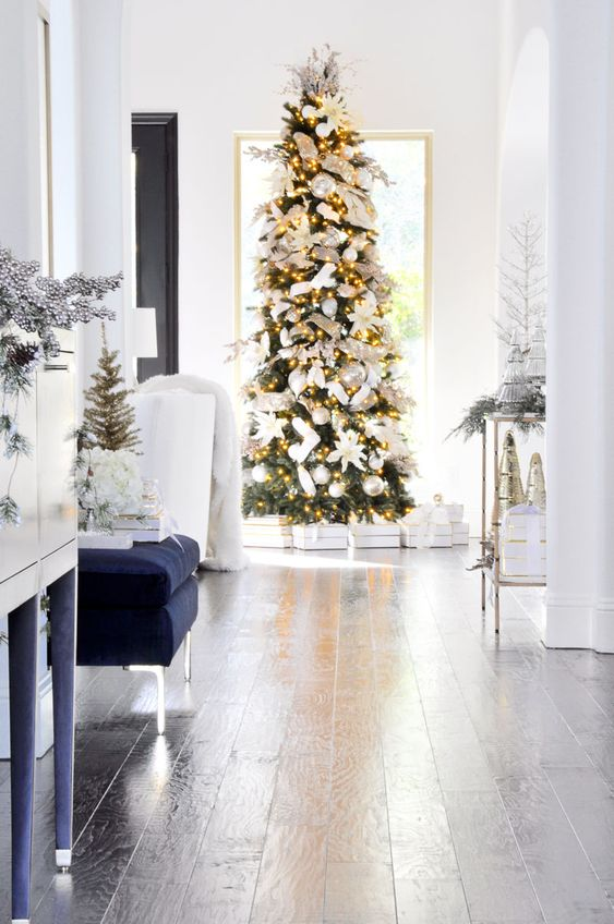 blue and white decor for Christmas