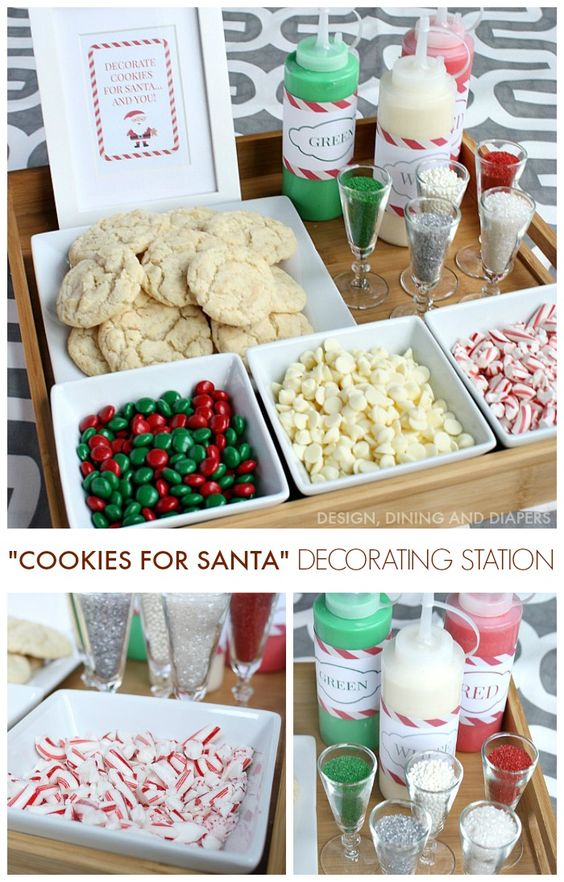Create a Christmas Cookie Decorating Station for your next holiday party! Perfect for kids and adults and Santa will love them!