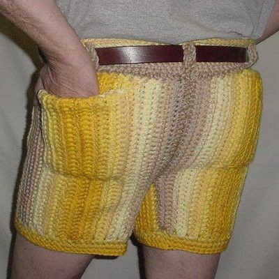 OH HONEY, YOU CROCHETED YOUR MAN SOME SHORTS? YOU SHOULDN'T HAVE. SERIOUSLY. YOU SHOULDN'T HAVE DONE THIS.