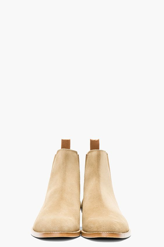 2sidesoflife:  Perfection in one shoe: Saint Laurent Tan Suede Chelsea Boots
