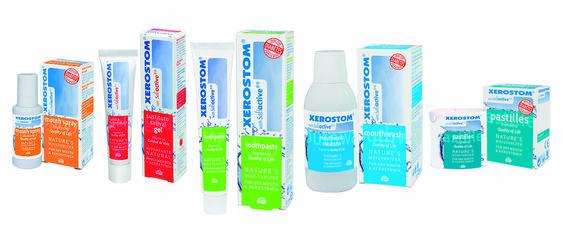 bodegón de productos xerostom para la sequedad de la boca