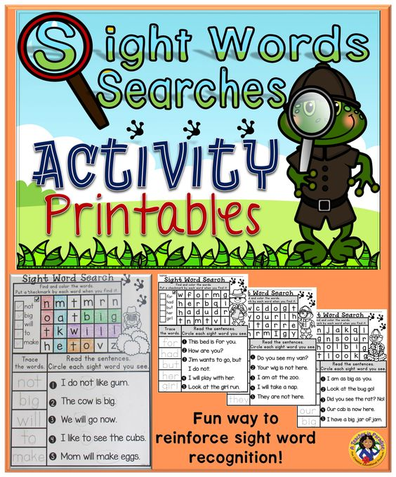 A great opportunity for your young learners to learn and practice sight words!