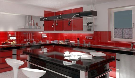 rote küchenrückwand fliesen verlegen schwarze kochinsel | küchen, Kuchen deko