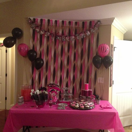 Pink and zebra print mustache party party ideas for Animal print party decoration ideas
