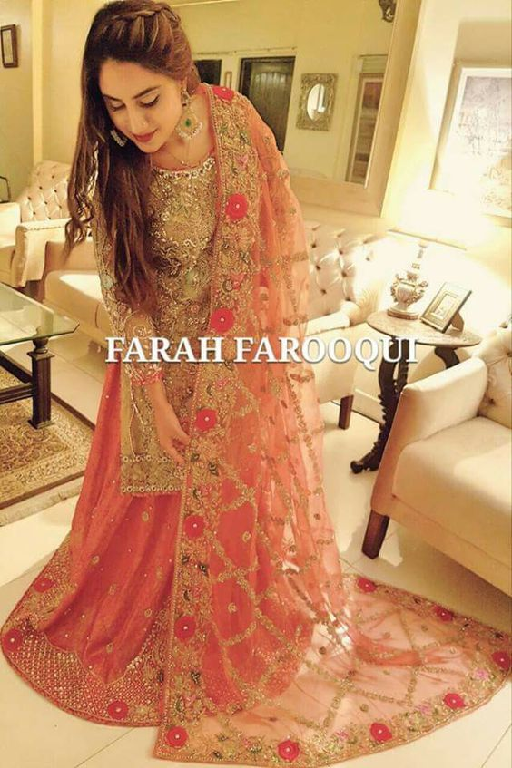 Pink Embroidered Lehnga with net Dupatta