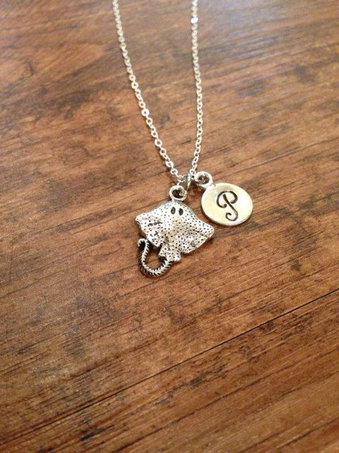 Stingray initial necklace
