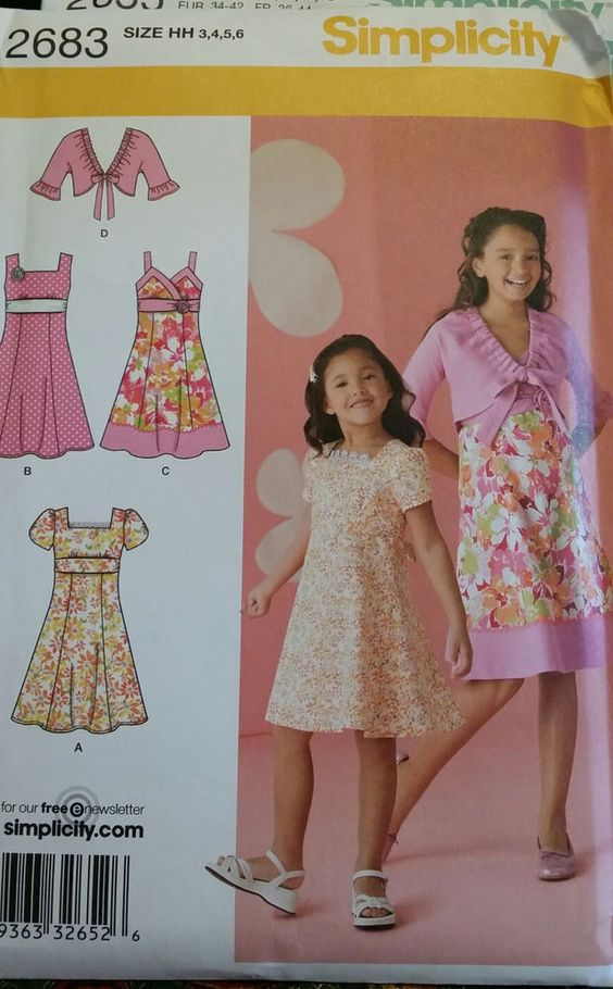 Simplicity Pattern 2683 Girls' Dress with Bodice Variations and Jacket sizes 3-6