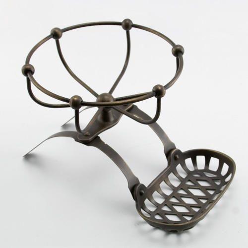 Solid Brass Soap Holder and Sponge Basket - Antique Brass