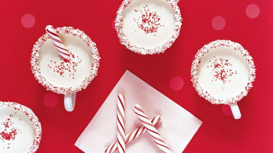 Serve this virgin eggnog, jazzed up with peppermint extract, in candy-rimmed mugs.