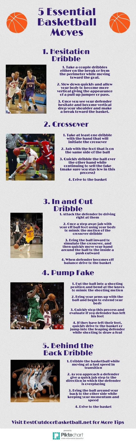 5 Essential Basketball Moves | @Piktochart Infographic