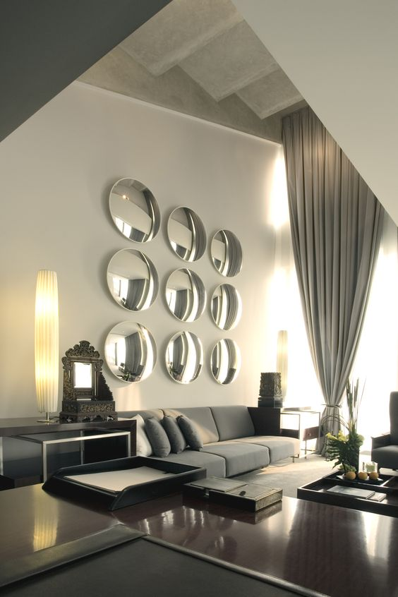 Wall Decor Using Mirrors : Grey convex mirror and design on