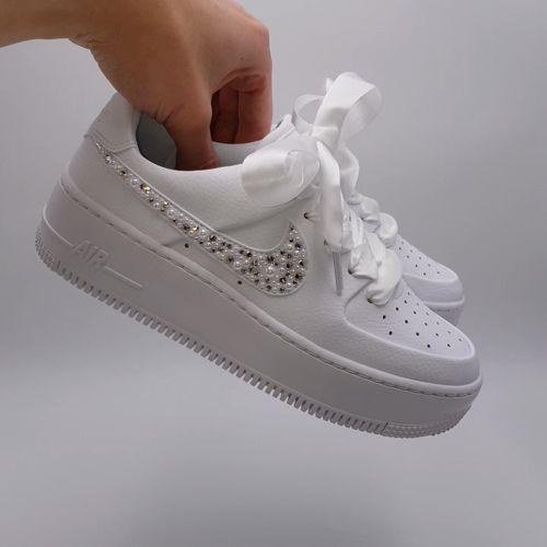 Nike Air Force 1 Wedding Pearl - Double G Customs - Custom ...