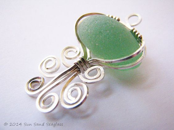 Genuine Pale Green English Seaglass Pendant by Sun Sand Seaglass - Sea Glass, Beach Glass, Sterling Silver, Seaglass, Wire Wrapped, Octopus