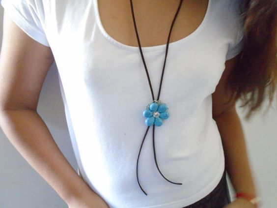 Lariat necklace Turquoise flower necklace by OneOfferJewelry