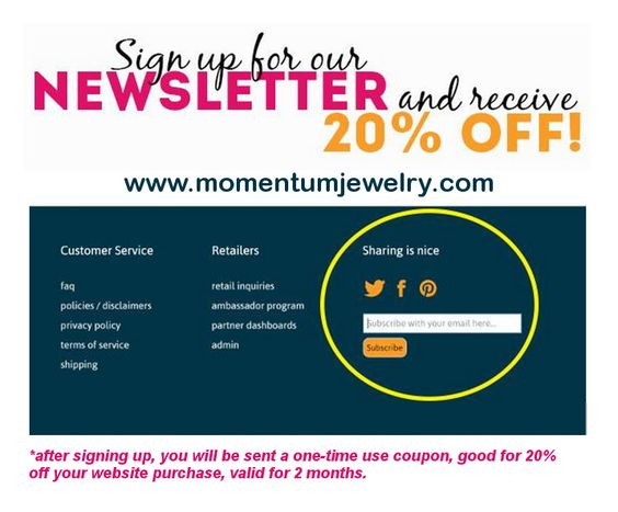 Get 20 off of Momentum Jewelry when you sign up for their - coupon disclaimers