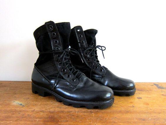 Toile noire cuir bottes de Combat Mens par dirtybirdiesvintage