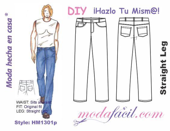 Descarga gratis los patrones del Pantalón de Mezclilla para Hombres Straight Cut disponible en 13 tallas desde las Tallas Juveniles hasta las Tallas EXTRAGRANDES