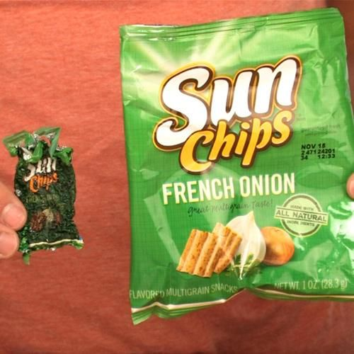 shrinking chips bag materials empty bag of sunchips big