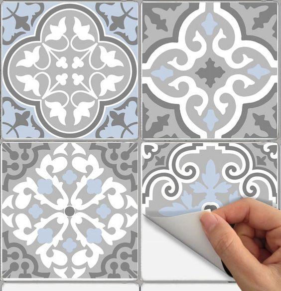 wall stickers vinyle autocollant impermable tuile ou papier peint pour cuisine salle de bain bmix3 contremarches - Stickers Tuile Vinyle Salle De Bain