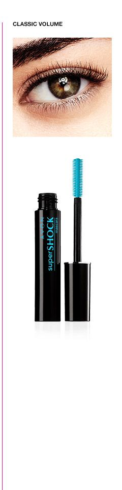 Classic Volume Total Volume! Get yourself some extreme volume! Swipe on Shocking volume for your lashes with SuperShock Mascara. The super-sized brush allows you to create voluminous lashes, while the vivid black color helps your lashes create a shocking look. Your lashes will be full of volume, making them look longer, thicker and denser. Create a shocking look, sure to make your eyes shine.