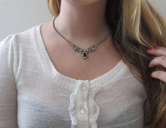 Vintage Rhinestone Necklace with Black by LittleKittenVintage, $22.00