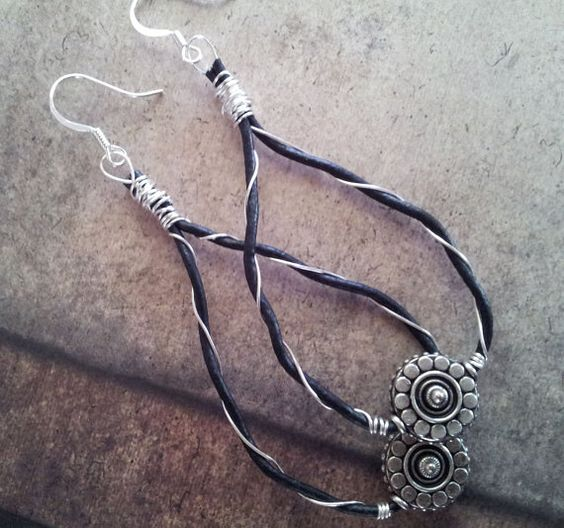 Fun leather wire tear drop dangle earrings by ShinyShenanigans