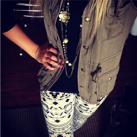 Obsessed with @sadilovebug's style! #PrintedLeggings #Layers #vest #InStoreNow #Regram