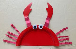 Tykes - Wet and Wild Water Week - Paper plate crab.: