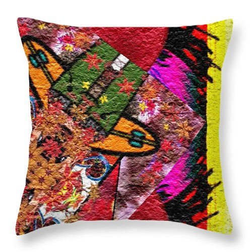 Modern Throw Pillow featuring the digital art Flying Down by Caroline Gilmore